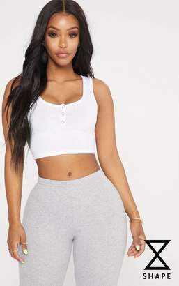 PrettyLittleThing Shape White Popper Detail Crop Top
