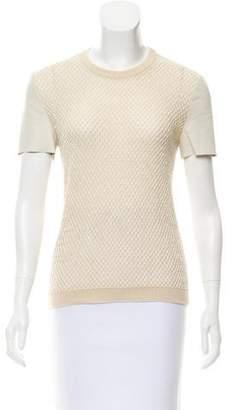 Salvatore Ferragamo Leather-Trimmed Knit Top