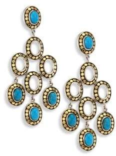 John Hardy Dot Turquoise& 18K Yellow Gold Chandelier Earrings