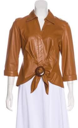 Lafayette 148 Long Sleeve Leather Jacket