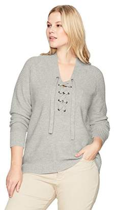 Lucky Brand Women's Lace Up Plus-Size Sweater