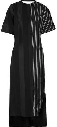 Esteban Cortazar Striped Satin Midi Dress - Black