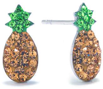 SILVER TREASURES Silver Treasures Sterling Silver Crystal Pineapple Multi Color 12mm Stud Earrings
