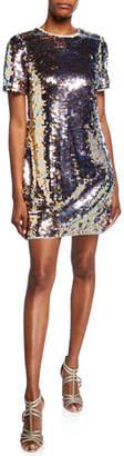 Aidan Mattox Sequin Short-Sleeve Mini Shift Dress