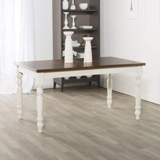 """Walker Edison 60"""" Solid Wood Turned Leg Dining Table - Brown/White"""