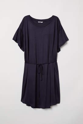 H&M T-shirt Dress with Tie Belt - Blue