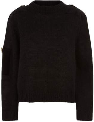 Mother of Pearl Atlas Velvet Patch Sweater