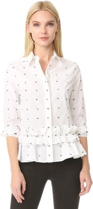 McQ - Alexander McQueen Peplum Ruffle Shirt $510 thestylecure.com