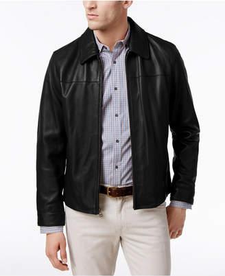 Cole Haan Men Full-Zip Leather Bomber Jacket