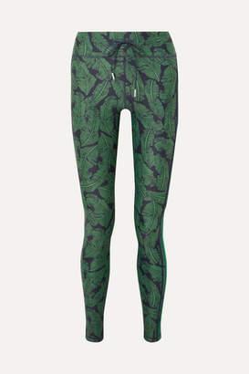 The Upside Striped Printed Stretch Leggings - Green