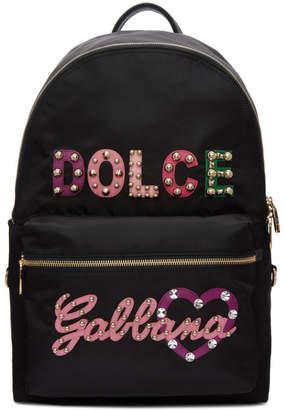 Dolce & Gabbana Black Studded Logo Backpack