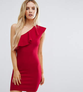 Missguided Petite Ruffle One Shoulder Dress
