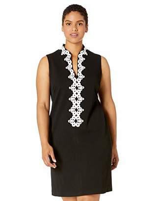 Jessica Howard Plus Size Womens Sleeveless Split Mandarin Collar Shift Dress
