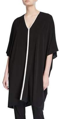 St. John V-Neck Sleeveless Matte Jersey Kaftan Dress w/ Contrast Knit Trim