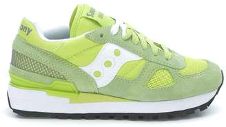 Saucony Sneakers Shadow In Suede E Tessuto Retinato Verde Lime