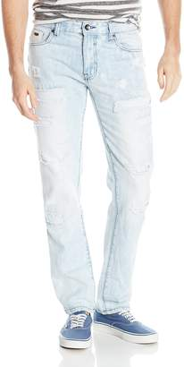 Southpole Men's Slim Straight Denim with Destructed Backed Repaired