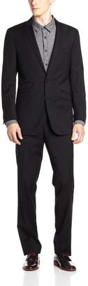 Ben Sherman Men's Two Button Side Vent Suit with Flat Front Pant
