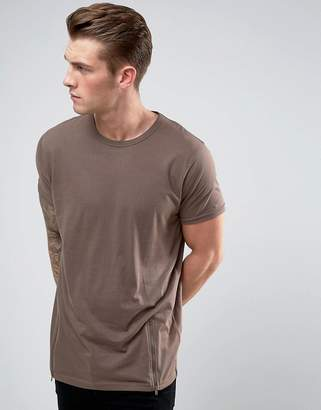 Brave Soul Longline T-Shirt With Side Zips