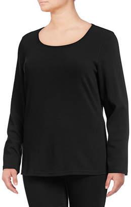 Karen Scott Plus Long Sleeve Scoop Neck Top