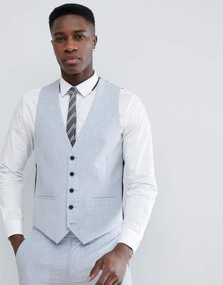 Farah Smart Skinny Wedding Suit Vest In Cross Hatch