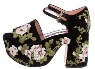 Rochas Velvet Platform Sandals