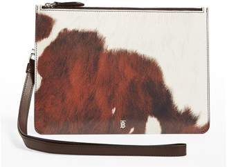 Burberry Cow Print Leather Zip Pouch