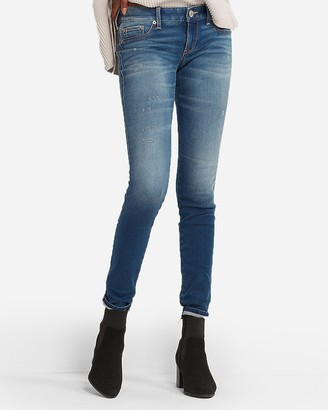 Express Low Rise Medium Wash Jean Leggings