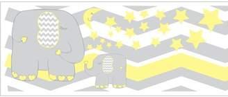 Presto Chango Decor Yellow Elephant Border Wall Decals / Jungle Safari Themed Chevron Border with Yellow Moon and Stars Nursery Decor