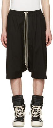 Rick Owens Black Ricks Pods Shorts $570 thestylecure.com