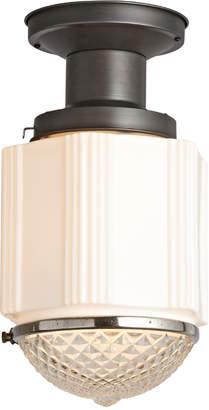 Rejuvenation Art Deco Flush w/ Prismatic Lens & Steel Fixture