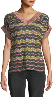 M Missoni Metallic Zigzag V-Neck Top