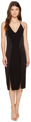 Halston Sleeveless V-Neck Satin Slip Dress w/ Back Cut Outs Women's Dress