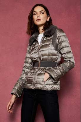 Next Womens Ted Baker Grey Faux Fur Collar Down Jacket