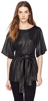 Painted Heart Women's Short Sleeve Front-Tie Mini Pique Blouse