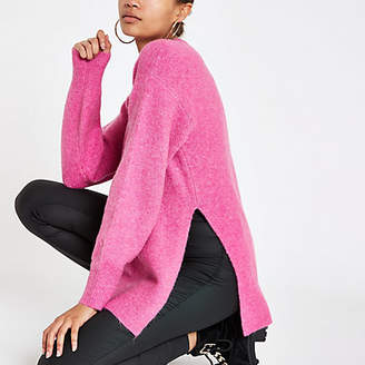 River Island Bright pink split side knit sweater