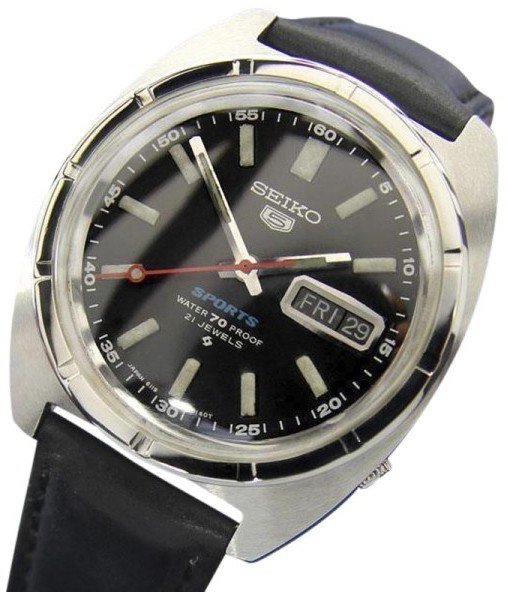 Seiko Seiko Sports 5 Stainless Steel / Leather Vintage 37mm Mens Watch