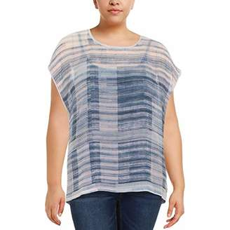Vince Camuto Women's Plus Size Short Sleeve Breezy Texture Mixed Media Tee