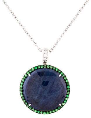 18K Sapphire, Tsavorite Garnet & Diamond Pendant Necklace