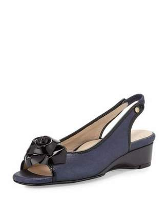 Taryn Rose Karlos Flower Demi-Wedge Sandal, Navy Blue/Black $152 thestylecure.com