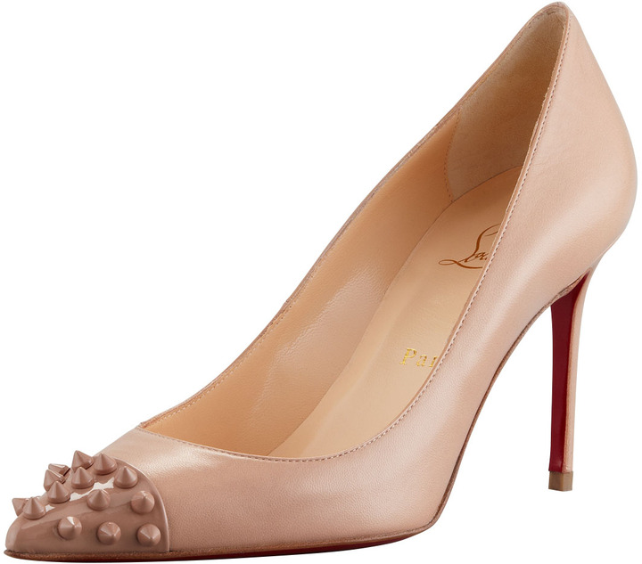 Christian Louboutin Geo Spike-Capped Red-Sole Pump, Nude