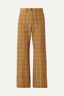 Sea Poirot Cropped Checked Cotton-blend Twill Straight-leg Pants - Camel