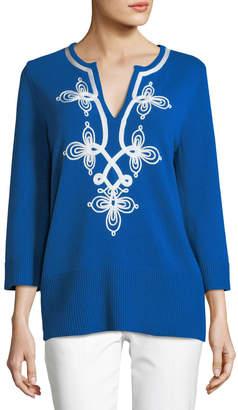 Michael Kors Soutache Split-Neck Long-Sleeve Cashmere Pullover Tunic