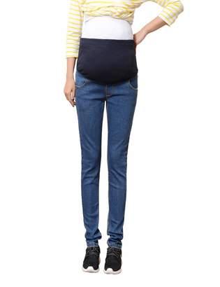 BESBOMIG Women Maternity Pants Pregnancy Jeans Denim - Pregnant Over Bump Trousers