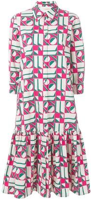 La DoubleJ dropped waist geometric print dress