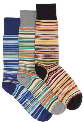 Paul Smith - Set Of Three Striped Cotton Blend Socks - Mens - Multi