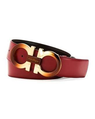 Salvatore Ferragamo Degrade Large-Gancini Buckle Belt, Rubino/Hickory $495 thestylecure.com