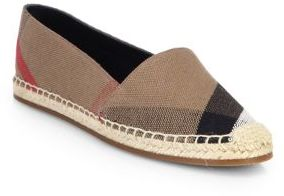 Burberry Hodgeson Check Canvas Espadrille Flats $295 thestylecure.com
