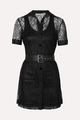 Alexander Wang Belted Lace Mini Dress - Black