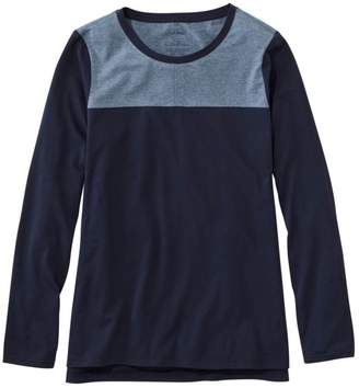 L.L. Bean L.L.Bean Women's Super-Soft Shrink-Free Tee, Long-Sleeve Crewneck Colorblock