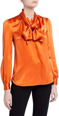 Tory Burch Silk Satin Long-Sleeve Bow Blouse